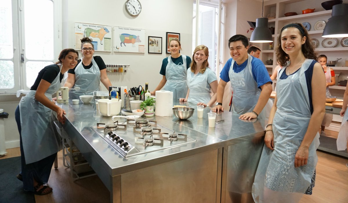 Catholic University students at pasta making cooking class